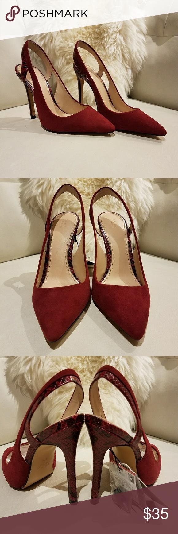 a01aa3bf136 ZARA burgundy heels size 6.5 NWT 🔥👠 ZARA leather/ suede slingback ...