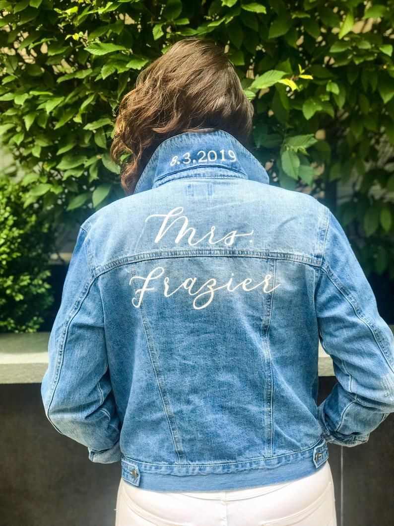 Bridal Mrs Jean Jacket With Wedding Date On Etsy Engagement Picture Outfits Jean Jacket Jackets [ 1059 x 794 Pixel ]