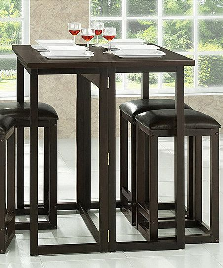 Kitchen Furniture Leeds: Dark Brown Leeds Five-Piece Collapsible Pub Table Set
