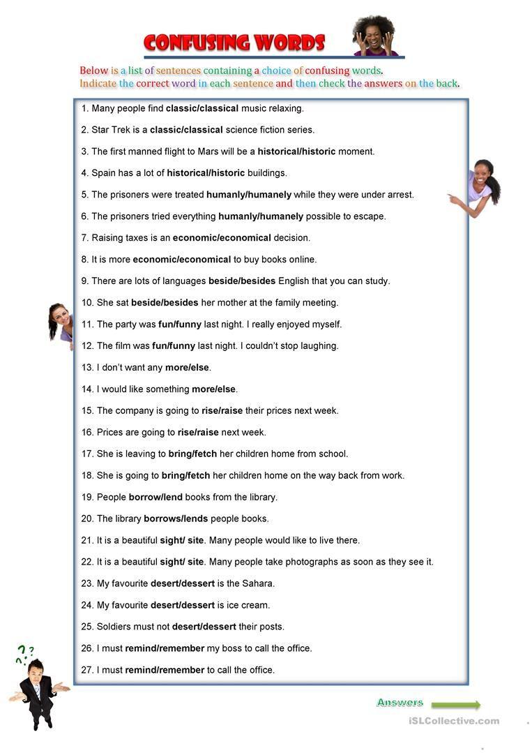Confusing Words worksheet - Free ESL printable worksheets made by teachers    Confusing words [ 1079 x 763 Pixel ]