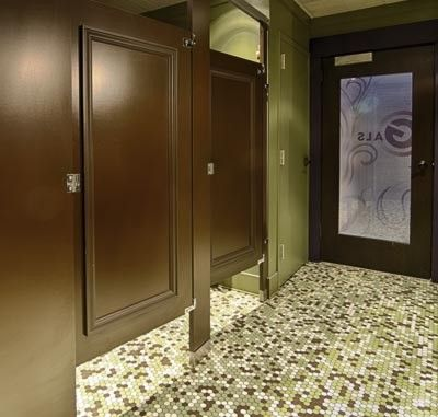 Ironwood Manufacturing Wood Veneer Toilet Partition And Bathroom Doors With  Molding.