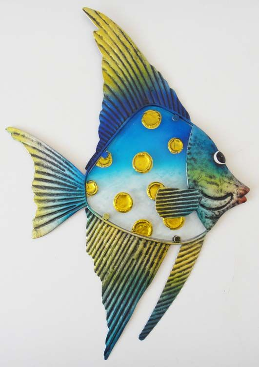 metal glass wall art picture sculpture blue yellow