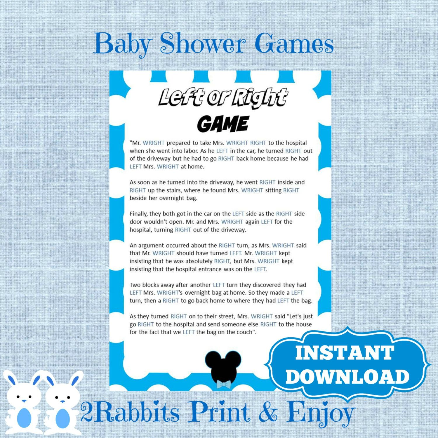 Mickey Mouse Left Or Right Printable Baby Shower Game   Instant Download    Disney Left Right