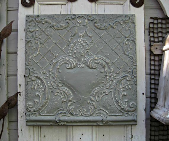 Antique Ceiling Tin Tile. Illinois architectural salvage. Vintage pressed tin. Gray metal wall art.  Grey Decor. FRAMED metal tile.