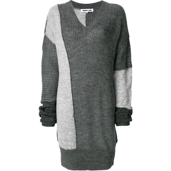 McQ Alexander McQueen patchwork knitted sweater (505 CAD) ❤ liked on  Polyvore featuring tops