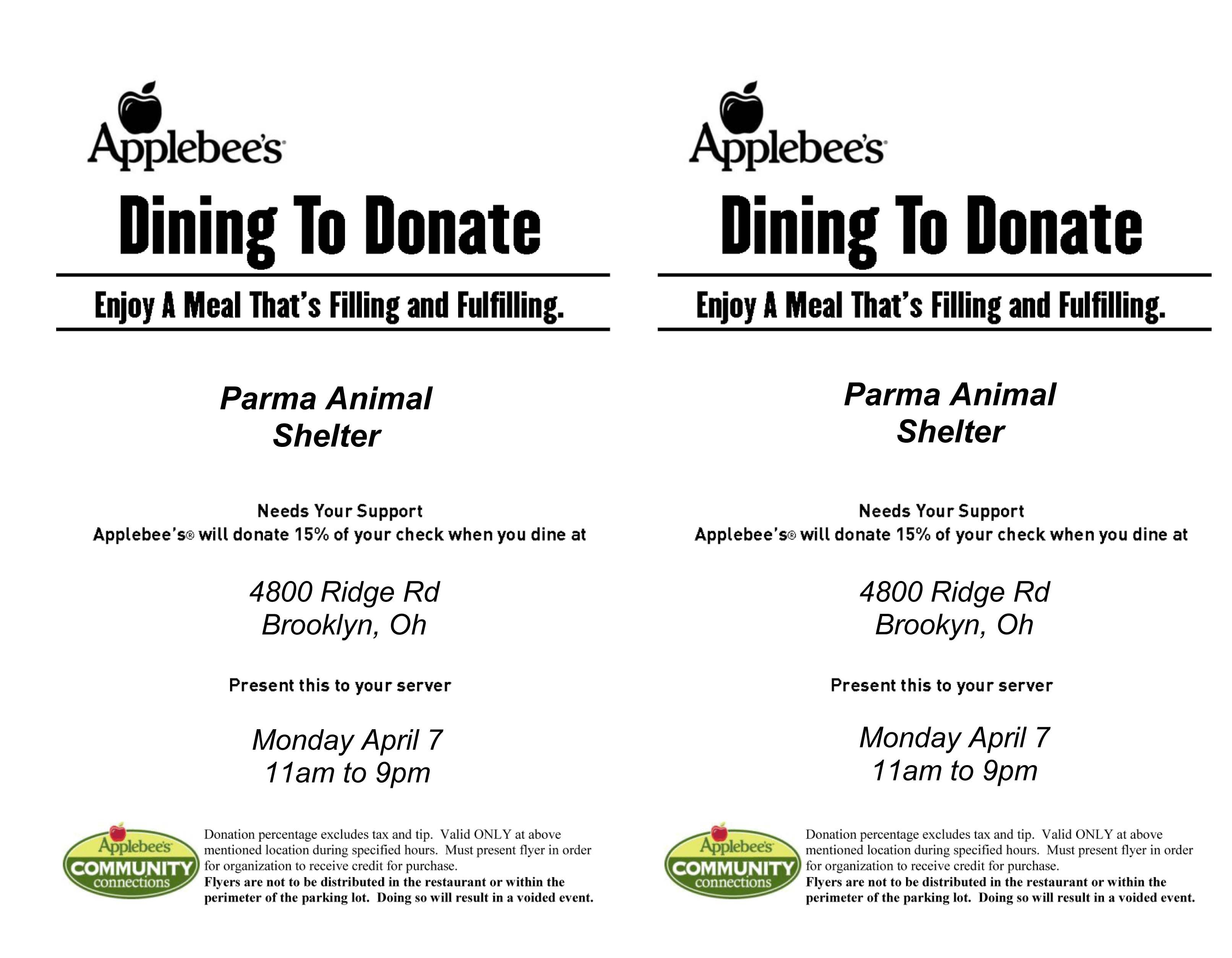 YUMMY IN YOUR TUMMY* April 7th Applebee\'s Dining to Donate ...