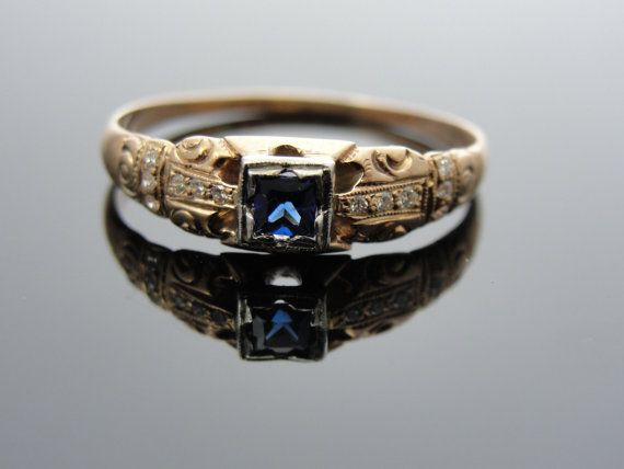 Antique 1800s Rose Gold Engagement Ring with Square Sapphire Center