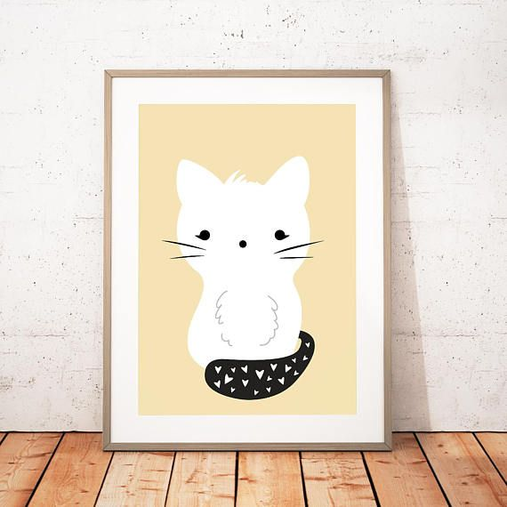 Cat Wall Art Nursery Animal Printable Kitty Print Cat | Printable ...