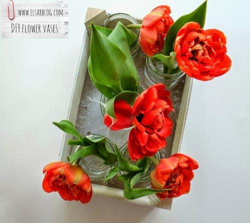 Deco recycle glazen potjes en fruitkist DIY :: ElsaRblog #cadeau -  #tulips