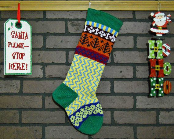 Zigzag Christmas Stocking, Hand Knit in Green with Trees and ...