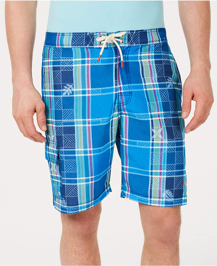 674dee9009 Tommy Bahama Men Baja Madras On My Mind Tropical Plaid 9 Board Shorts