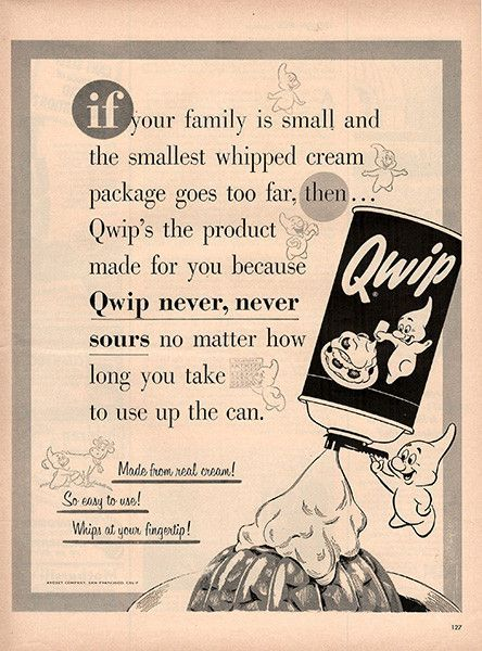 1954 Qwip Whipped Cream Original Food and Drink Print Ad -An ...