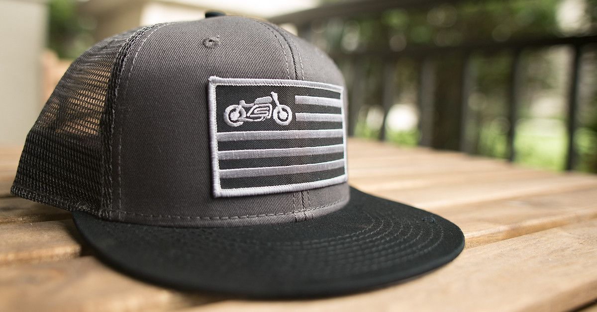 scotch and iron mesh truck hat with motorcycle patch 29265fa734c8