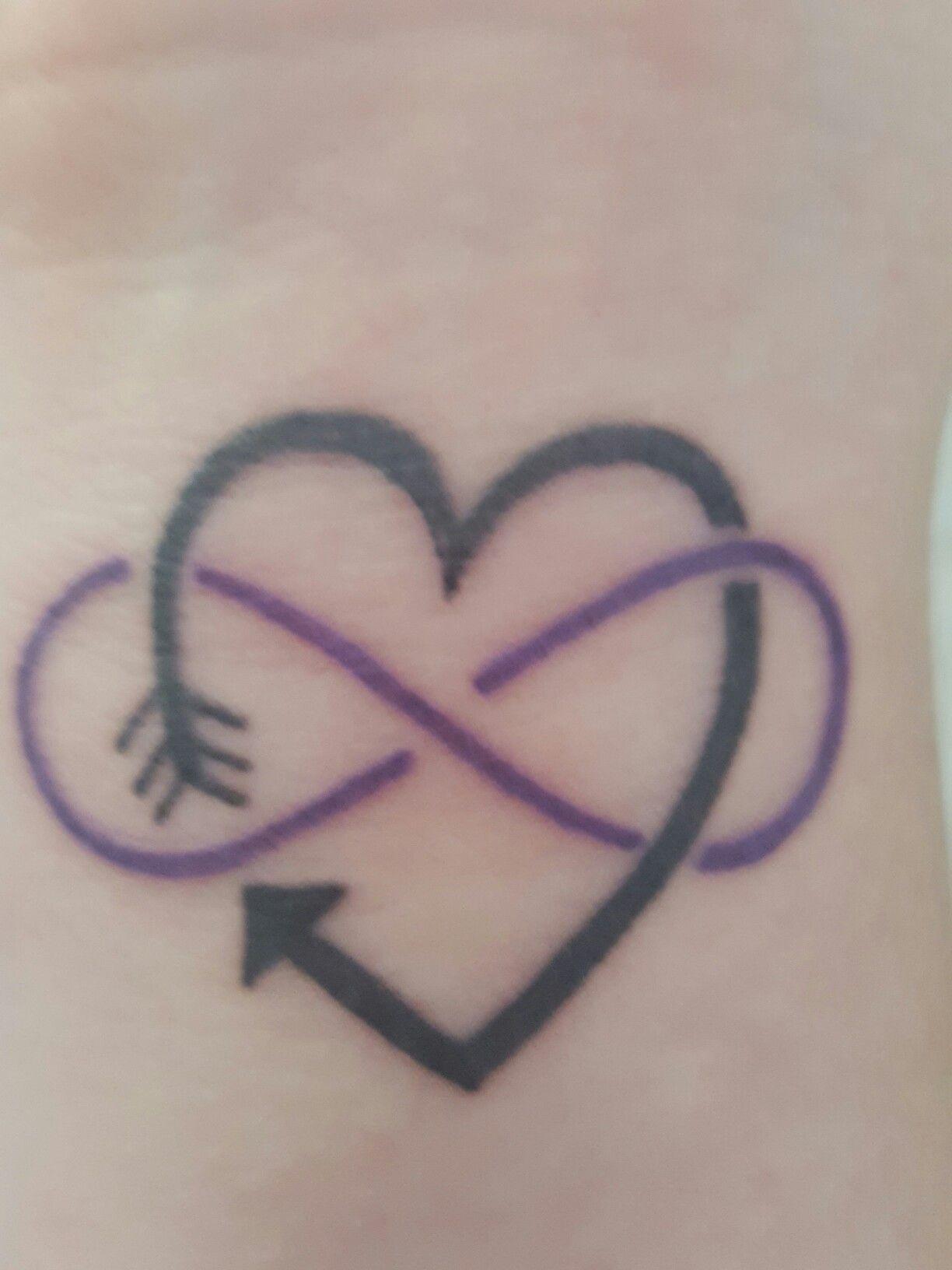 17ae0c5ae0d08 My first tattoo - arrow heart with purple infinity   Tattoos   Arrow ...