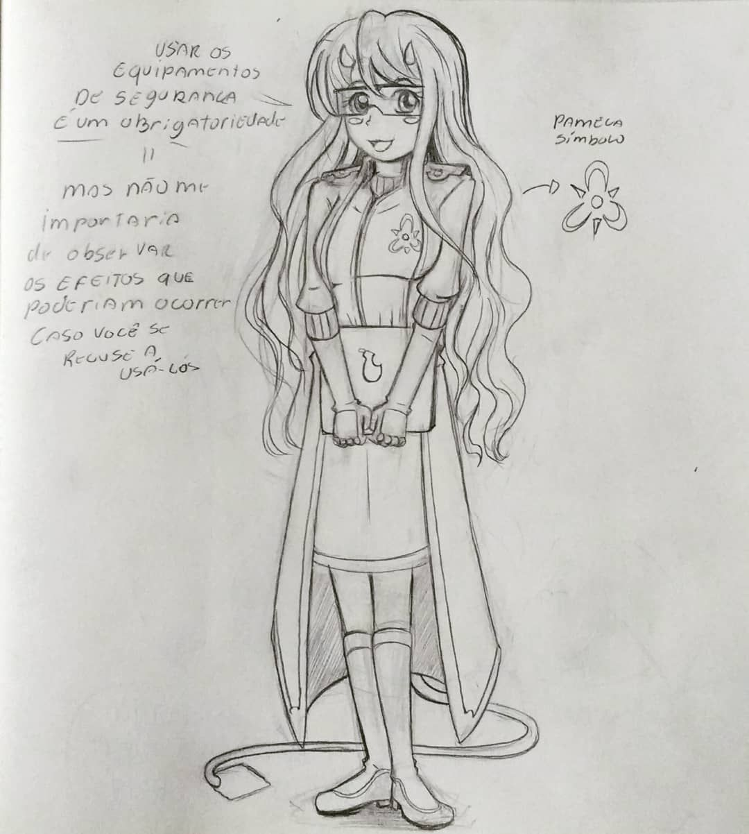 Drawing originalcharacter alchemist kawaii sketch sketchbook pencil traditionalwork manga mangá anime longhair