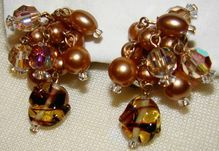 Faux Bronze Pearls, Crystals and Art Glass Earrings - Gorgeous