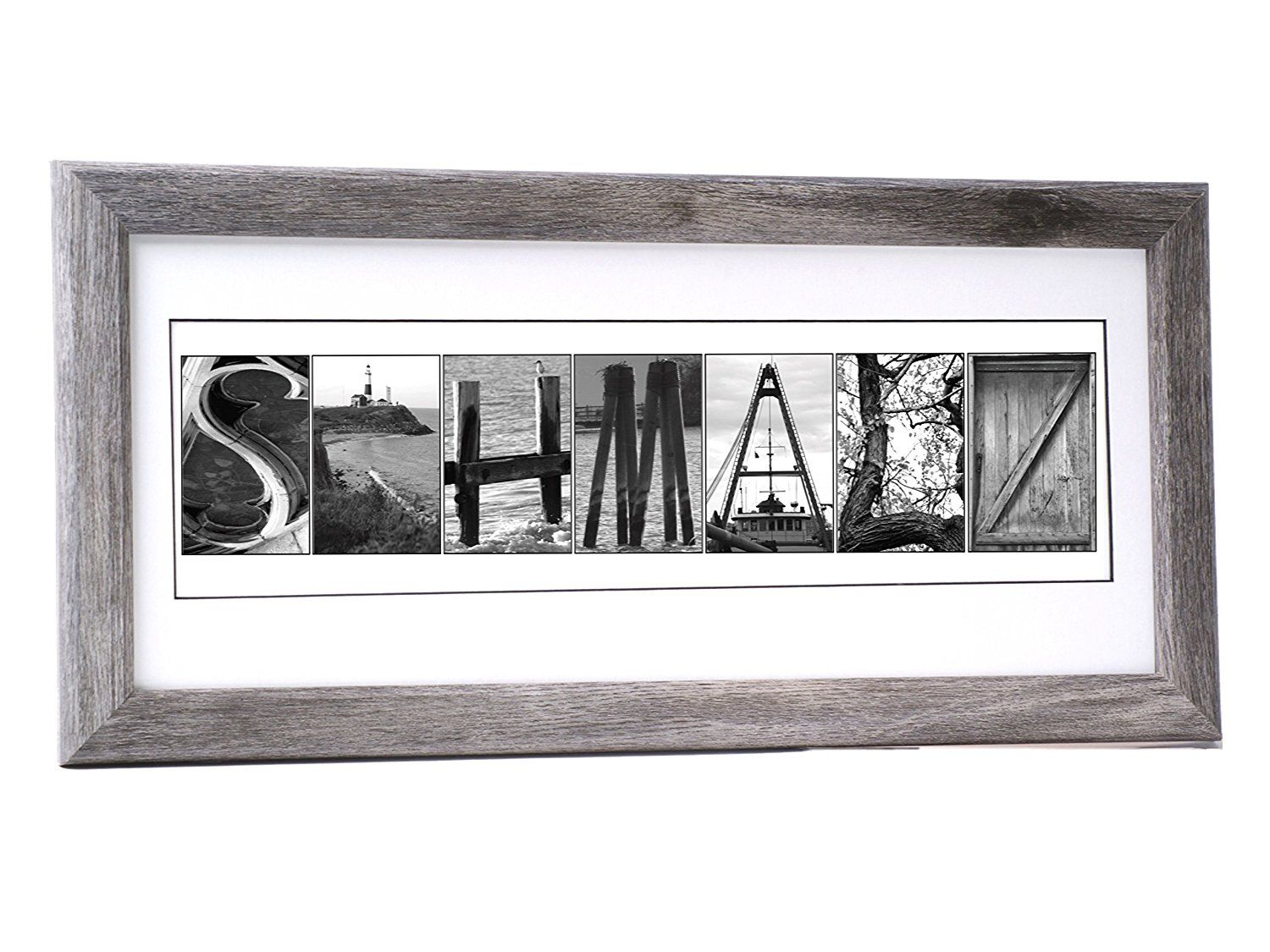 Creative Letter Art Personalized 12 by 26 inch Framed Sign in Beach ...
