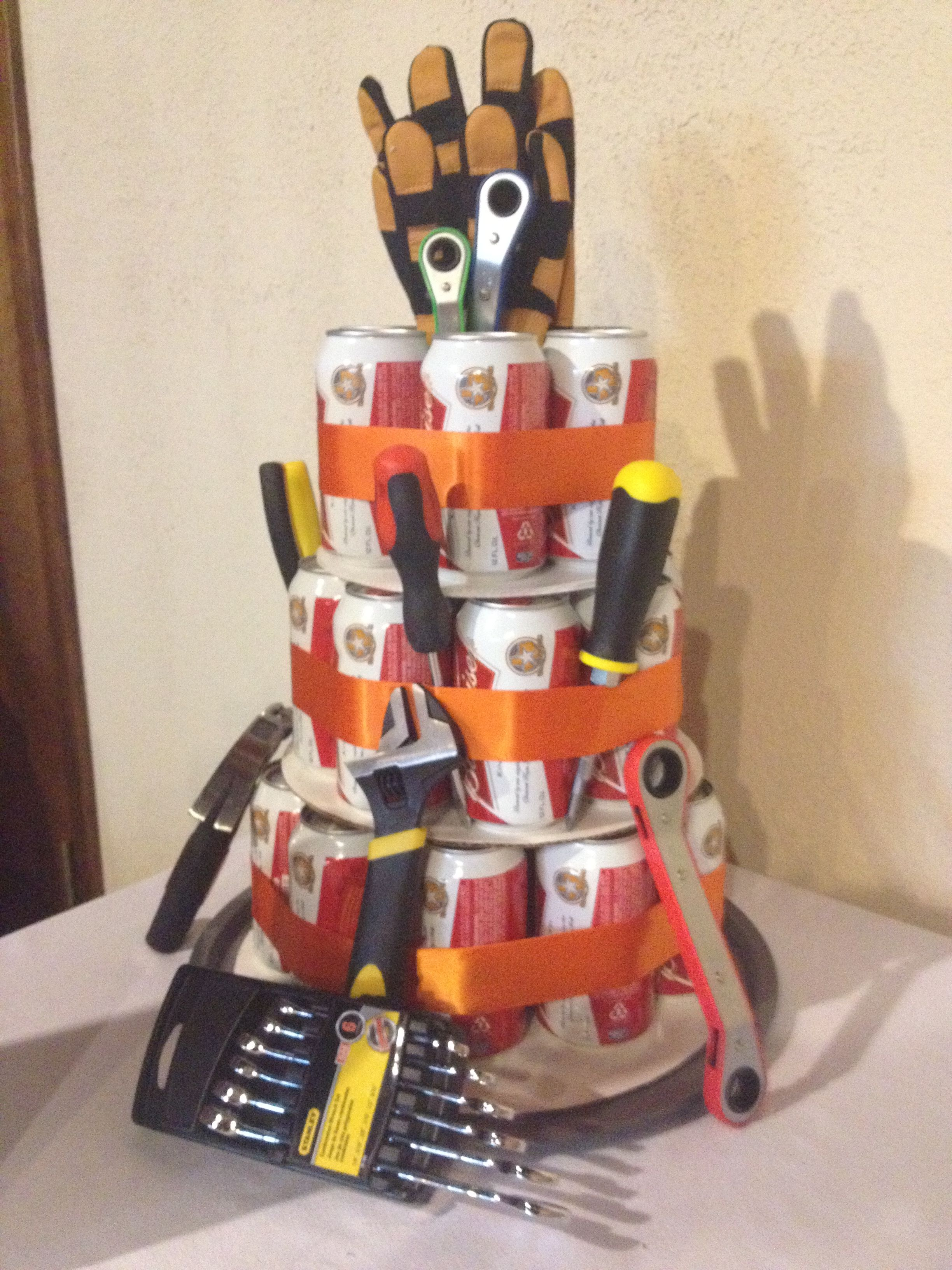 Groom's Beer/tool cake for couple's shower Honey do