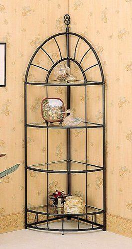 Sunburst design wrought iron style 4 tier corner stand shelf 2015 amazon top rated corner for Wrought iron bathroom furniture