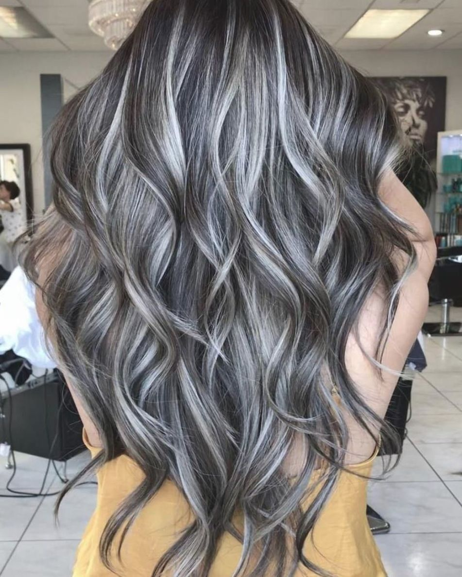 Long Dark Waves With Silver Highlights In 2020 Black Hair With Highlights Gray Hair Highlights Dark Hair With Highlights