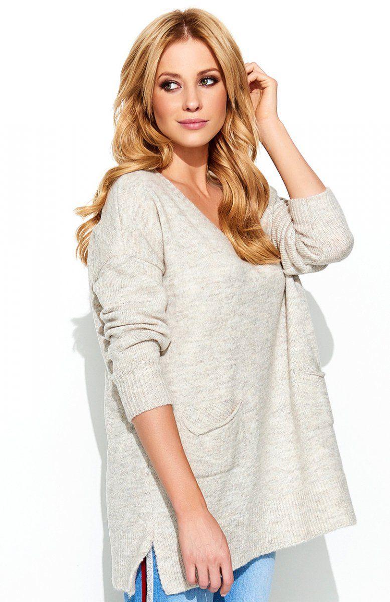8192dd06 Makadamia S68 sweter beżowy - Swetry damskie - Odzież damska - Sklep ...