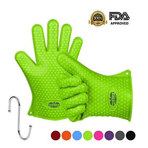 Molecule Gloves 446f Extreme Heat Resistant Gloves Oven Kitchen Silicone Glove Grilling Mitts Potholder For BBQ  Cooking  Baking  FDA Approved 1 Pair ** Click image for more details.