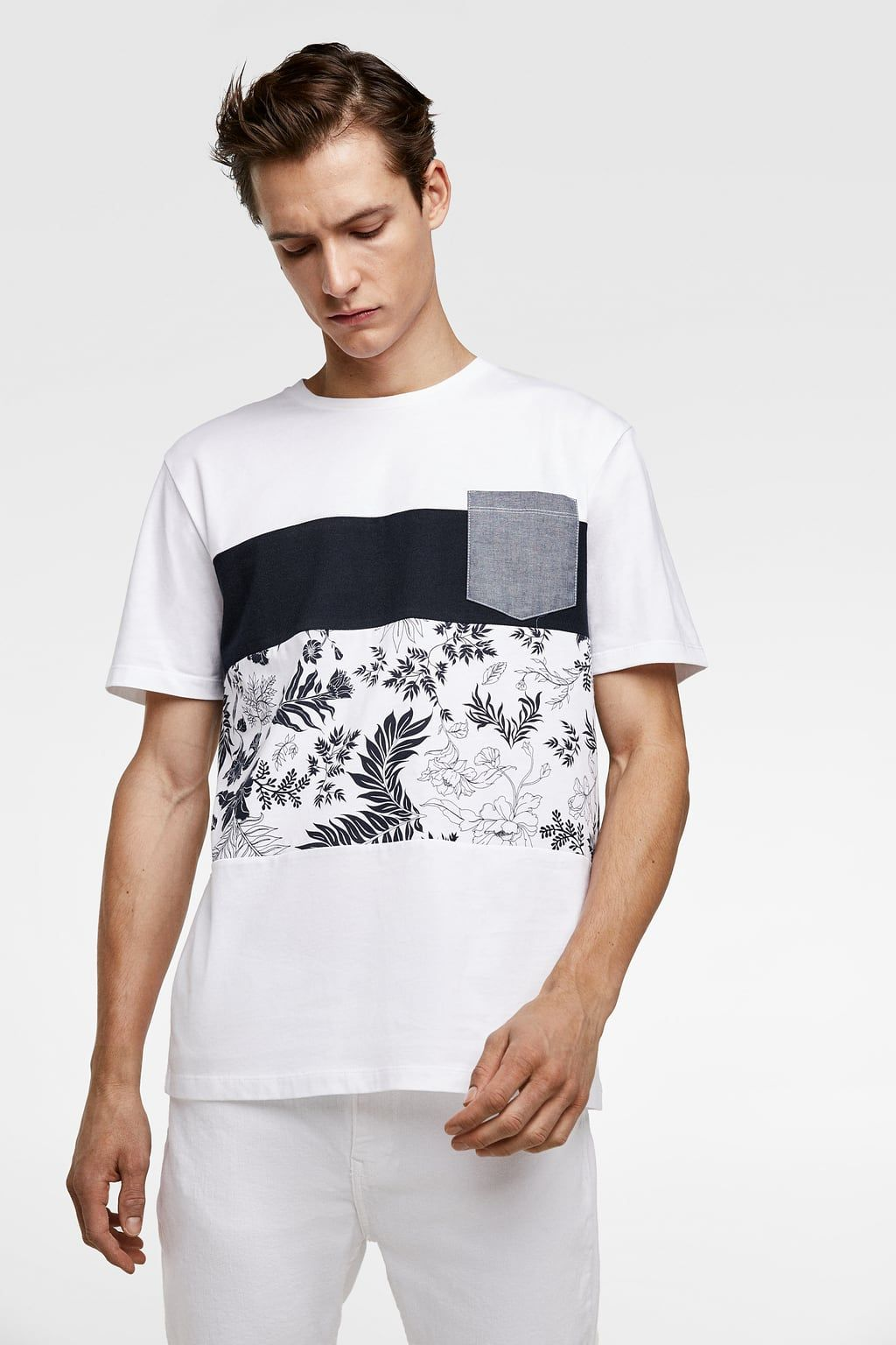 6b1e3d8881 T-SHIRT WITH CONTRASTING POCKET - Available in more colours | Looks ...