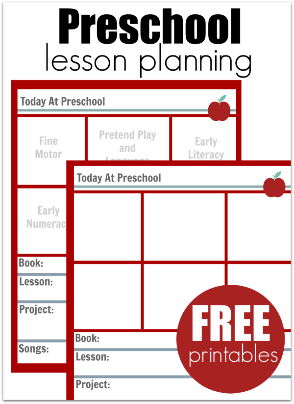 Preschool Lesson Planning Template  Free Printables  Free