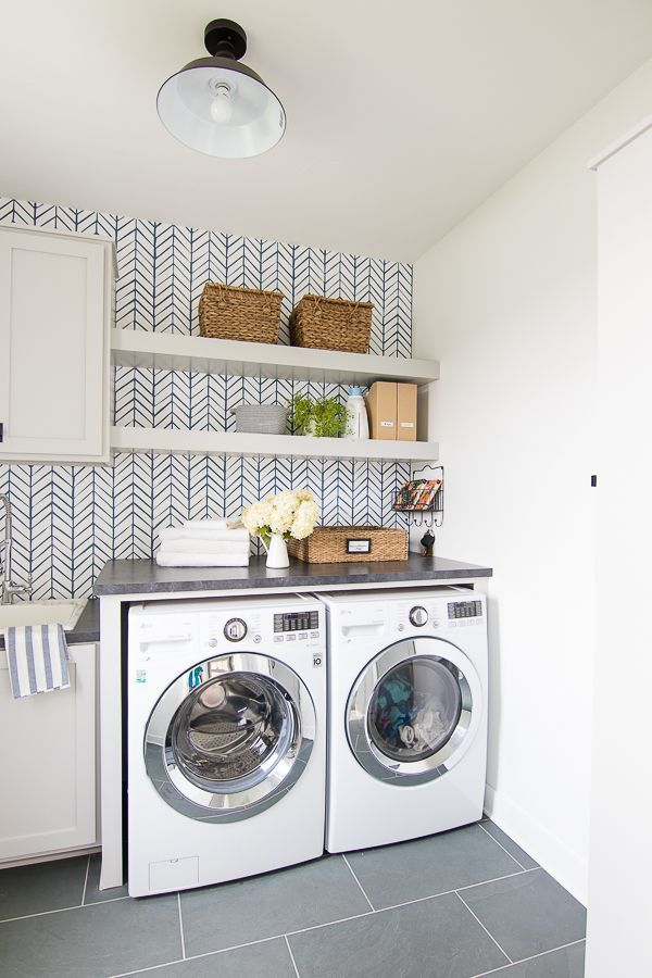 Wallpapered Laundry Room Laundry rooms