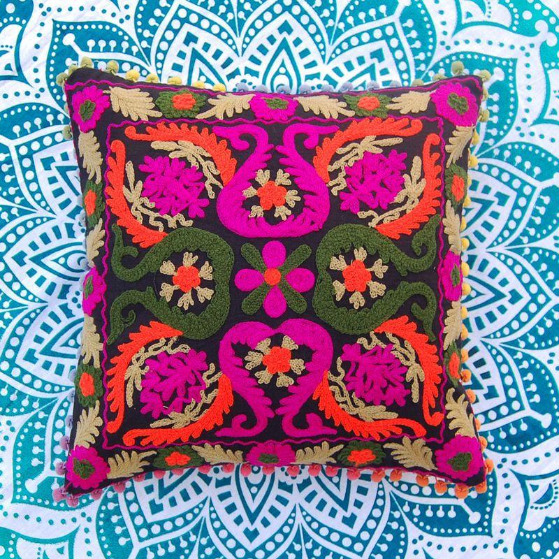Home Decoretiv Suzani Cushion Cover Embroidered 16x16'' Pillow Case PomPom Lase #HandMand #Ethnic