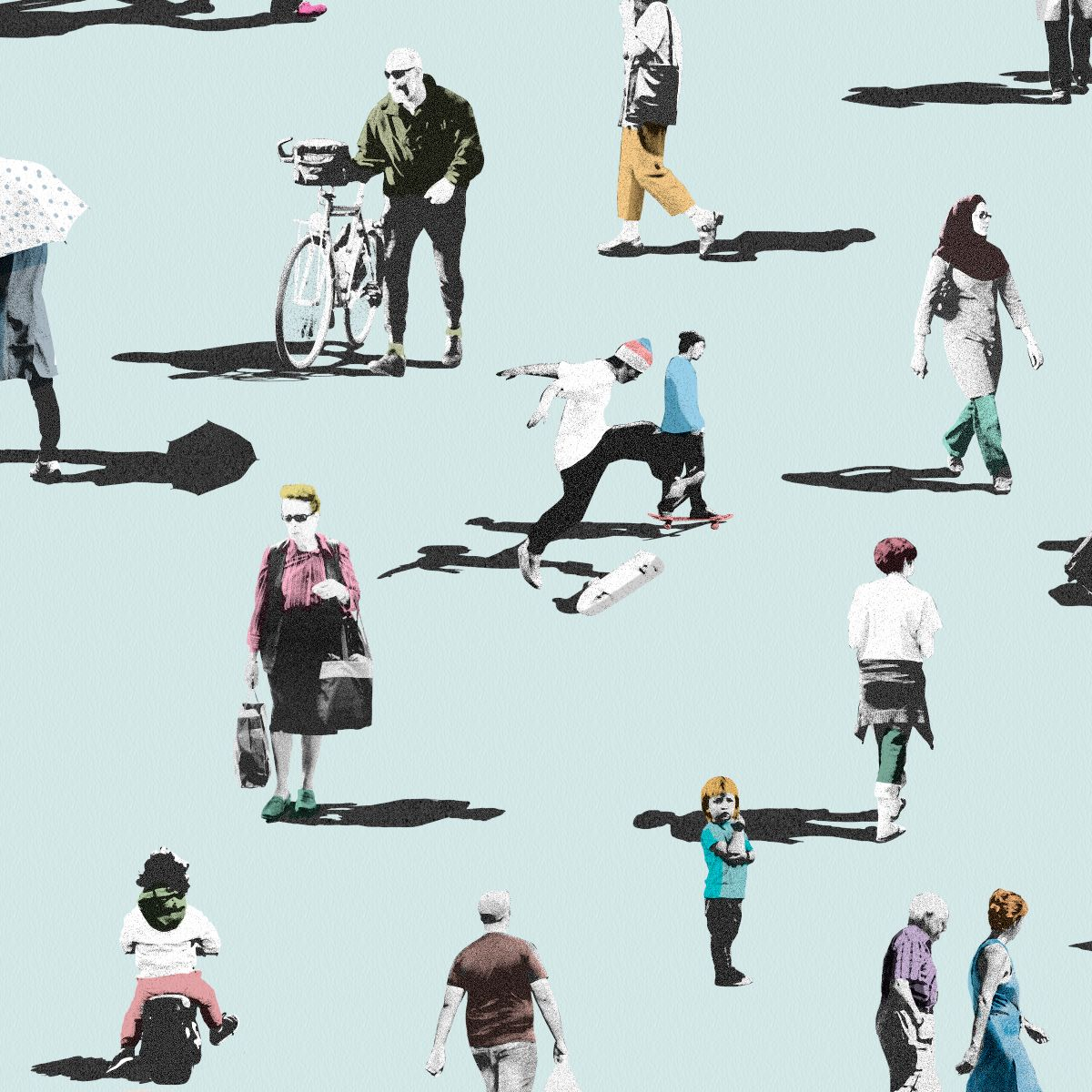 Papel pintado Walking People Azul