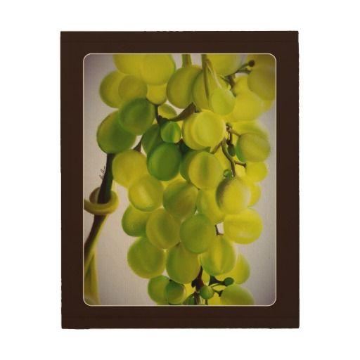 Beautiful Vintage Grapes Wood Canvas Art
