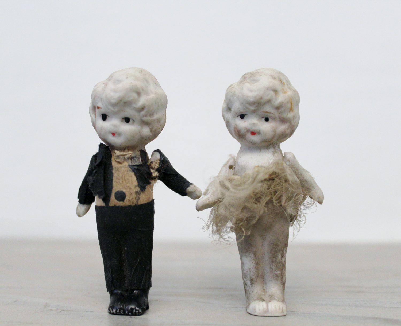 Vintage Miniature Bisque Doll Set - Zombie Bride and Groom Wedding ...
