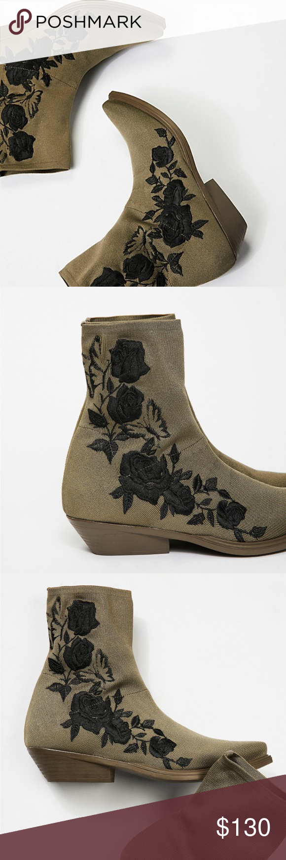 cf564fe02fb9 Black Roses Ankle Boot Italian made stretch stocking ankle boots featured  in a military green. • Contrast floral embroidery • Tonal rubber outsole  and heel ...