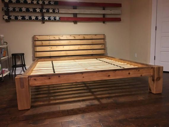 Walnut and cedar Notched timber bed frame and headboard | Pinterest ...