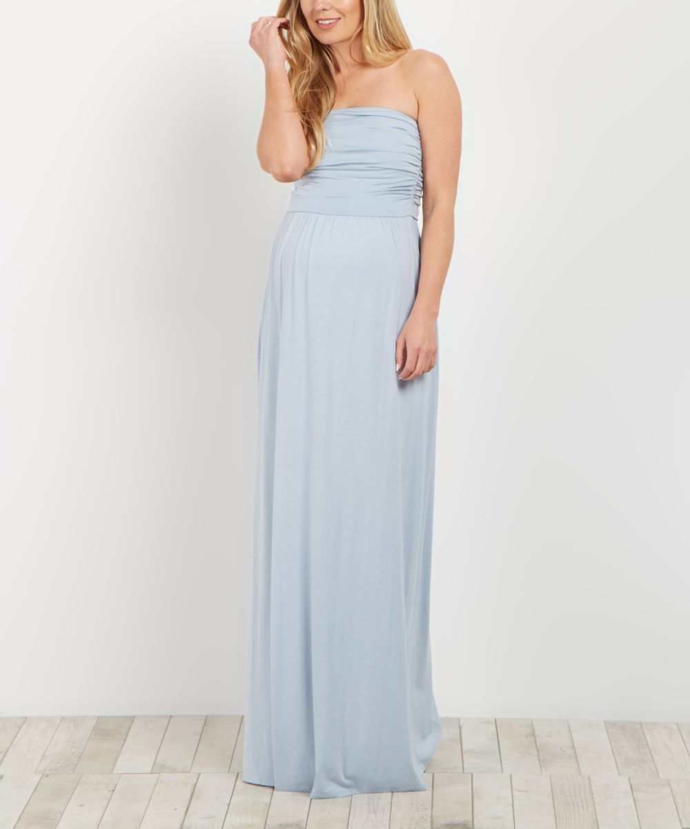 PinkBlush Light Blue Strapless Maternity Maxi Dress | Products ...
