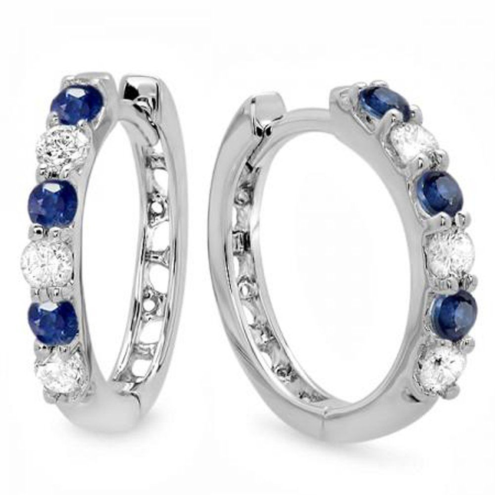 730ef0dbc97 14K White Gold Round Blue Sapphire   White Diamond Ladies Huggies Hoop  Earrings