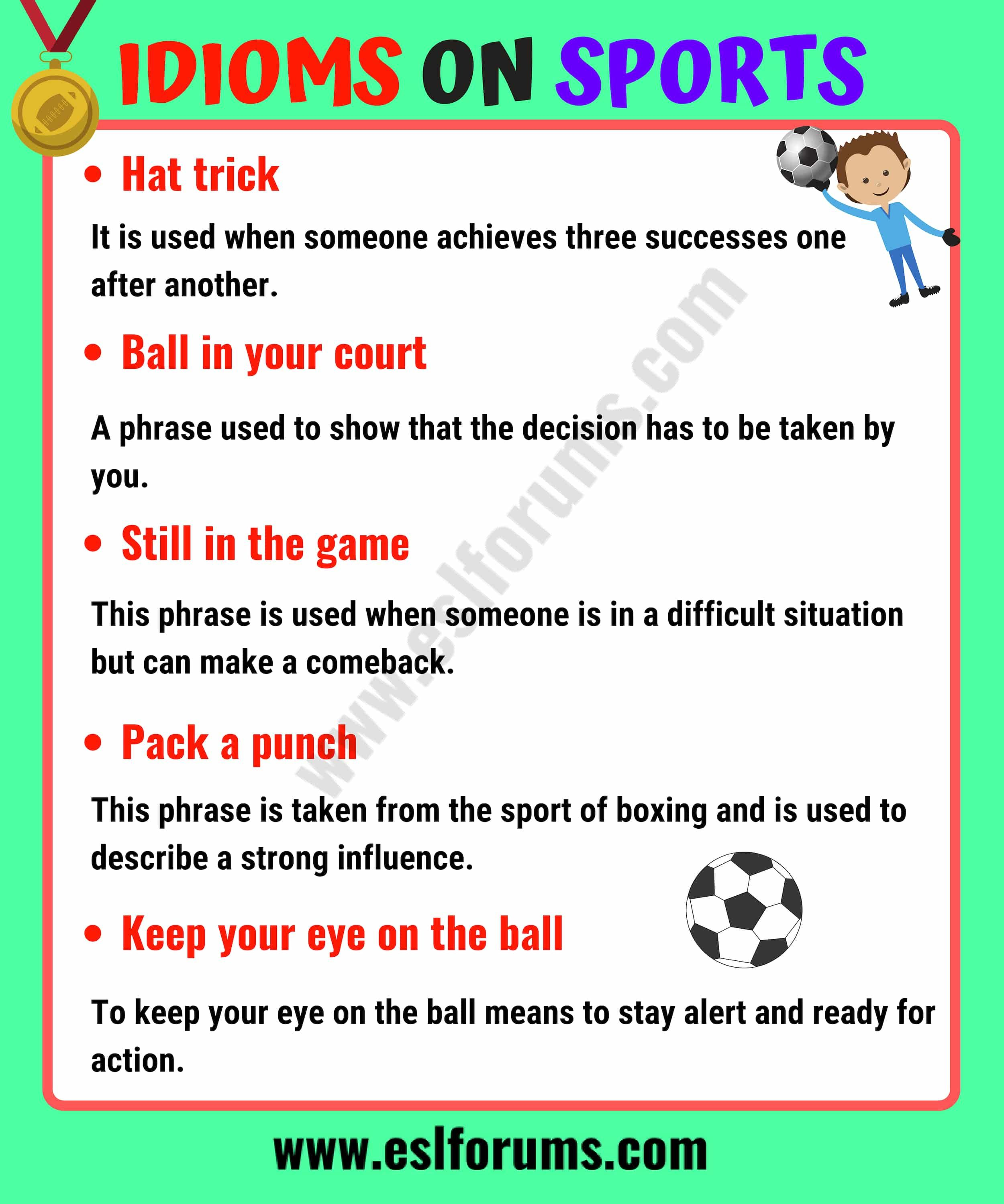 10 Funny Sports Idioms In English Esl Forums English Vocabulary Words Idioms And Phrases English Words