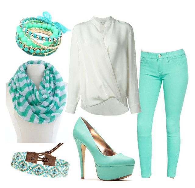 """""""Teal and white"""" by carogrv626 ❤ liked on Polyvore"""