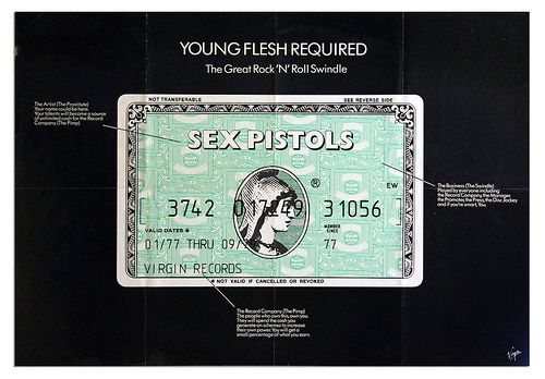 Banned Sex Pistols poster. 1979 Sex Pistols (Young Flesh Required) Art by Jamie Reid