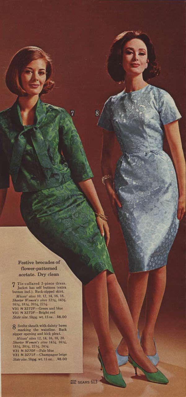 Brocades 1964 Catalog Emerald Sheath Dress Suit W Matching Almond