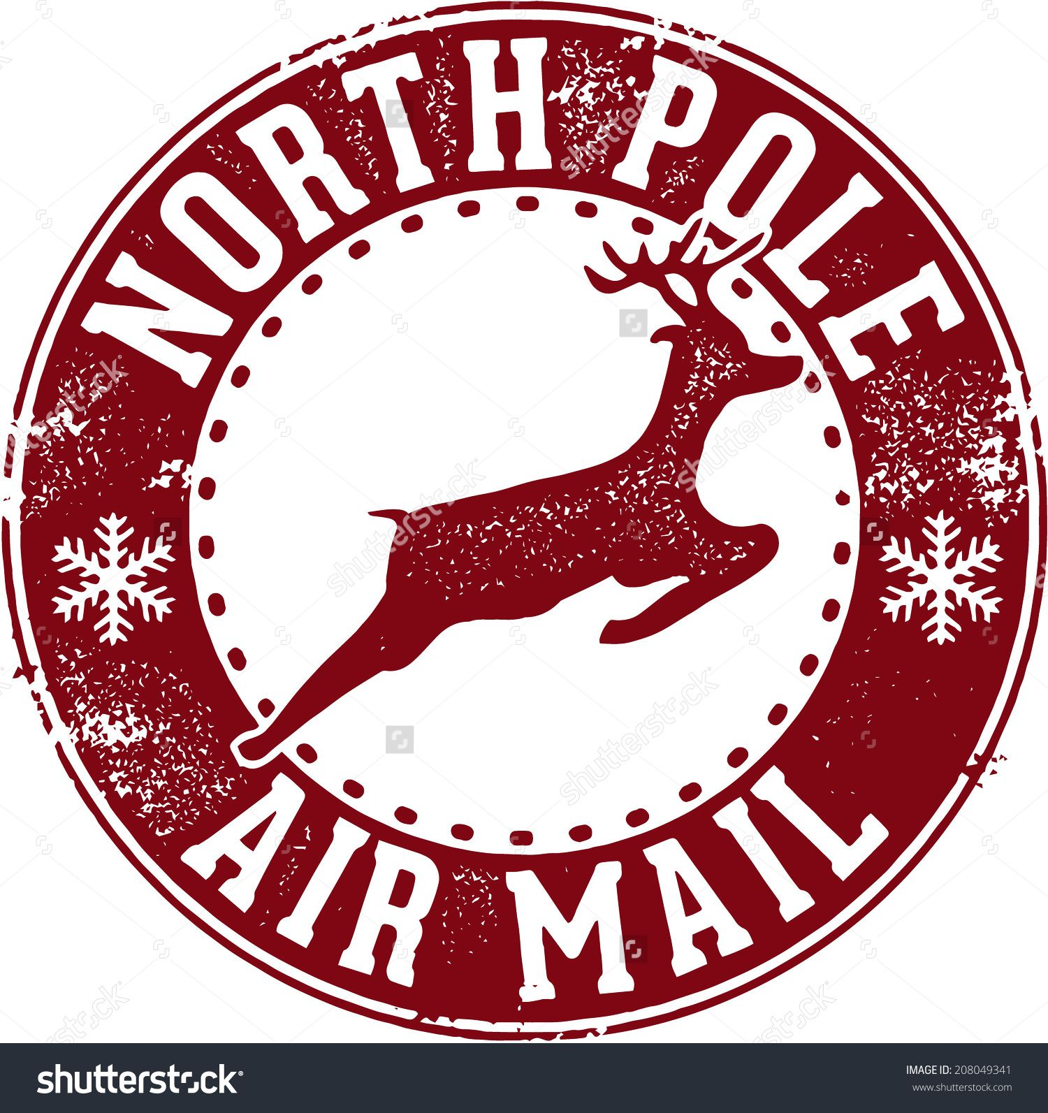 North Pole Air Mail Christmas Santa Stamp Stock Vector    Store