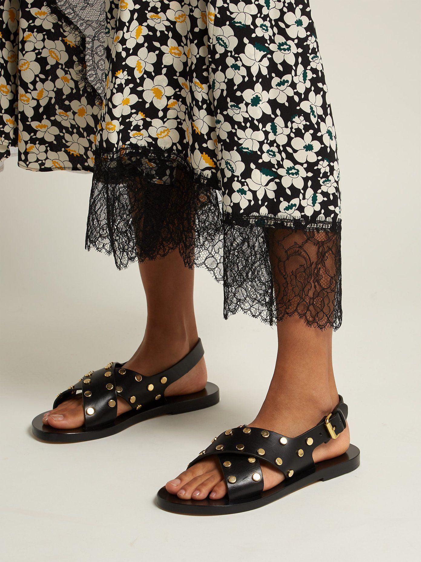 d21b51730c5 ISABEL MARANT Jane stud-embellished leather sandals - Metallic hints are  what makes this pair