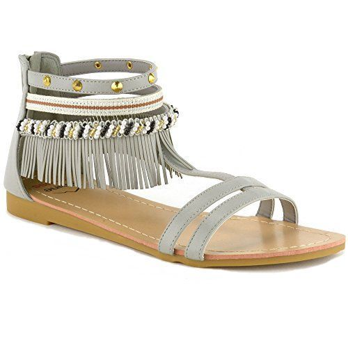 c55c716286c2f Alpine Swiss Womens Beaded Studded Fringe Flat Gladiator Sandals ...