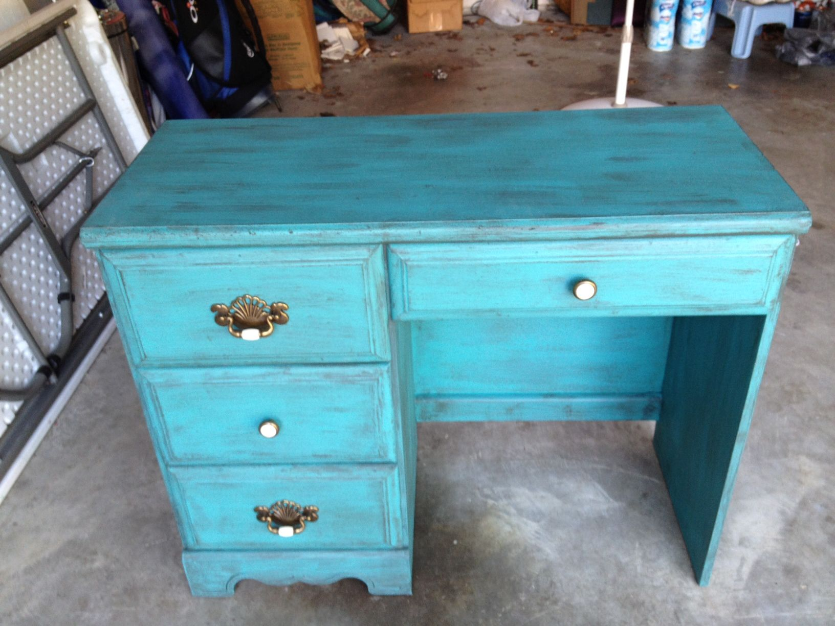 Faux Antiqued My Daughteru0027s Desk From When She Was 4! Itu0027s Particle Board  So Sanded It Well, Used Valspar Paint, And Be Sure To Coat With  Polyurethane After ...