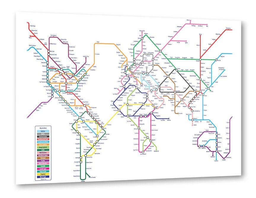 World metro map wandposter pinterest world metro map gumiabroncs Choice Image