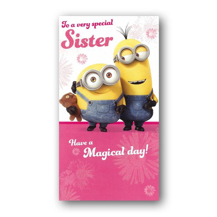 Minions Birthday Card Sister Minion Birthday Card Beautiful Greeting Cards Minion Birthday