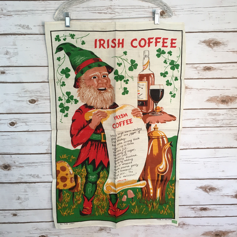 Irish Coffee Vintage 1970 s All Pure Linen Made In Ireland Tea Towel