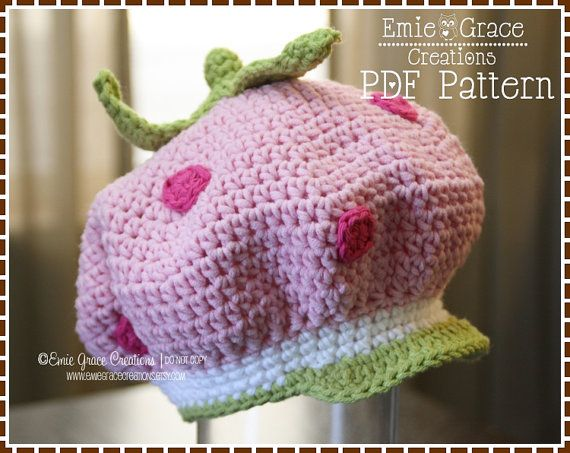 Strawberry Hat Crochet Pattern, 8 Sizes from Newborn to Adult ...