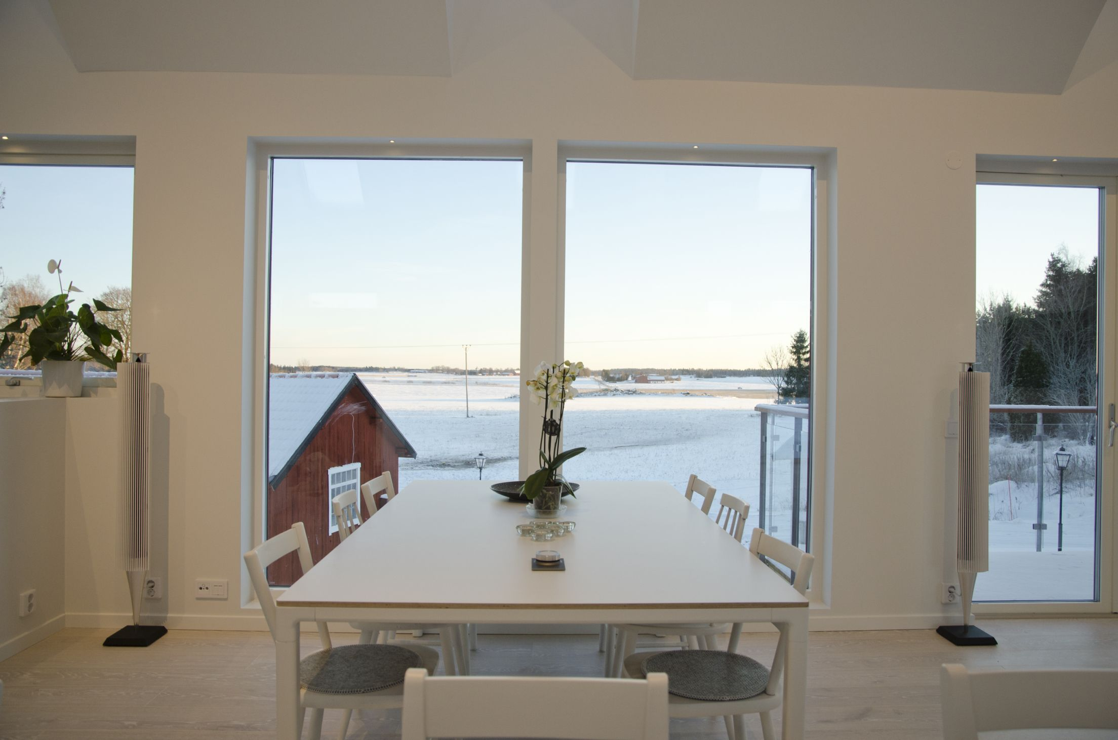 Scandinavian interior design with a view. Dining table